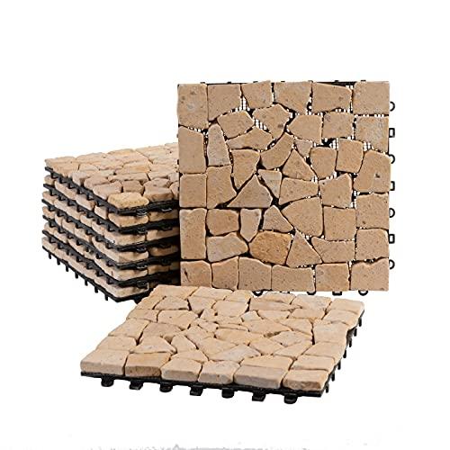 BodenMax Baldosa clic de travertino natural | Modelo Mosaico | 30 cm x 30 cm x 2,5 cm | Set de 2 baldosas = 0,18 m² |Para terrazas, jardines, balcones, piscinas, saunas. interiores y exteriores