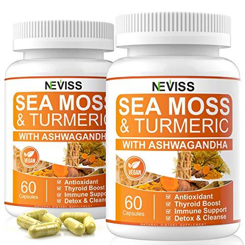 2 Pack Sea Moss Capsules with Turmeric & Ashwagandha, Natural Organic Irish Sea Moss Supplement, Immune Support & Digestive, Detox & Cleanse. 120 Vegan Capsules