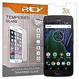 REY Pack 3X Panzerglas Schutzfolie für Motorola Moto G5, Bildschirmschutzfolie 9H+ Festigkeit, Anti-Kratzen, Anti-Öl, Anti-Bläschen