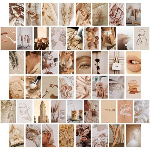 TROOPIC - 50 Fotos de Pared para Decoración Habitacion Juvenil Aesthetic, Color Beige, Acabado Mate, 10 x 15 cm en papel de 300 gramos - Hecho en España
