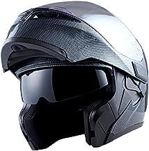 1Storm Motorcycle Modular Full Face Helmet Flip up Dual Visor Sun Shield Helmet: HB89 Carbon Fiber Black