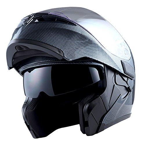 1Storm Motorcycle Modular Full Face Helmet Flip up Dual Visor Sun Shield: HB89 Carbon Fiber Black