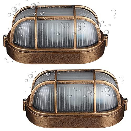 2er Pack Wandbeleuchtung Saunalampe Vintage Oval Gitter Lampe Wandlampe Wasserdicht Aluminiumguss Und Glas Aussenleuchte Retro E27 Landhaus Hoflampe Eingangs Außen-Deckenleuchte