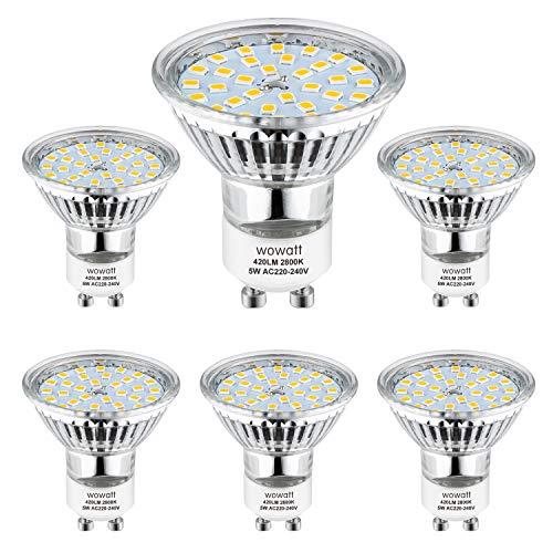 Wowatt 6er GU10 LED Warmweiss LED GU10 Lampe 5W 230V Ersetzt 40W 35W 30W 25W 20W GU10 Halogenlampe 420lm Warmweiß 2800K AC 220V-240V 120° Abstrahwinkel LED Birnen LED Leuchtmittel