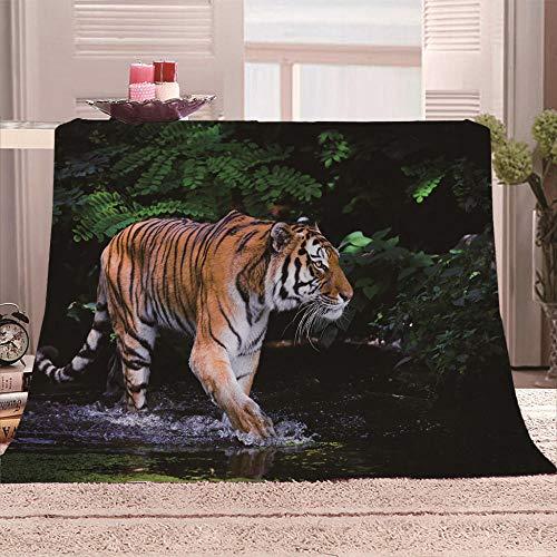 LIGAHUI Manta Polar con Flecos de Pompones Tigre Animal Plaid Manta de Franela para el sofá Cama Apta para Todas Las Estaciones 130x150 cm