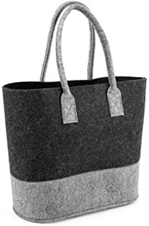 Opromo Felt Tote Bag Reusable Shopping Bag Grocery Tote Bag-Gray