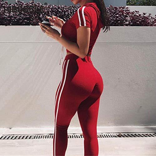 EVNMD Traje De Yoga Gimnasio Deportes Damas Camiseta Pantalones Jogging Ropa Deportiva Fitness Correr Ejercicio Ropa Traje-Rojo_Metro