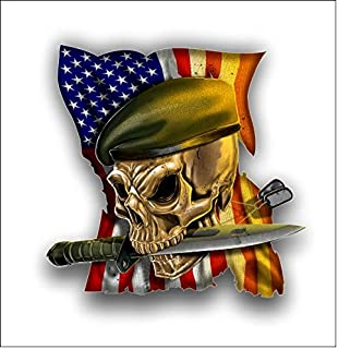 Green Beret American Flag Skull sticker / decal **Free Shipping**