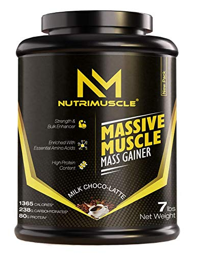 NUTRIMUSCLE MASSIVE MUSCLE MASS GAINER - 7 LBS - 3.175 KGS - CHOCO LATTE FLAVOUR - FOR MUSCLE AND MASS GAIN - MADE IN INDIA