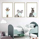 Nordic Ideas 3 Dessins Animaux Girafe Zèbre Koala Affiches Decoration Chambre Bebe...