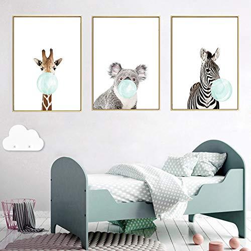 3 Dessins Affiches Bebe Animaux Girafe Zèbre Koala Posters 40x50 Decoration Tableau Murales Impression sur Toile Enfant Garçon Cadeau sans Cadre PTANB005-L