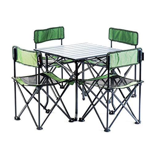 Reeamy-Home Table Pliable Léger extérieur Camp Portable Table Pliante Net Chaises Set w/Sac de Transport 4 chaises + 1 Table Taille compacte for Camping Table Pliante (Color : Green)