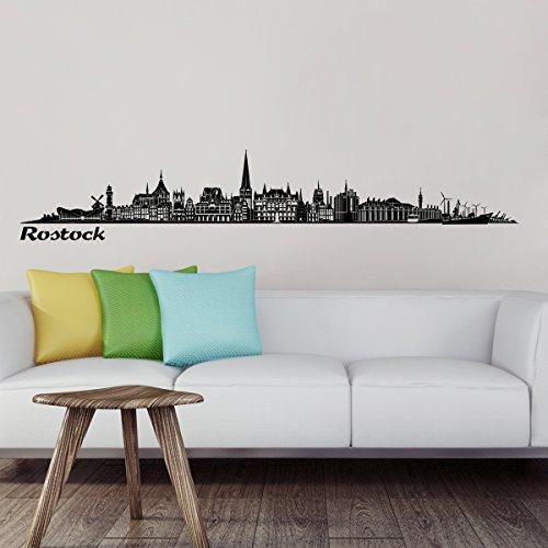 Wandkings Skyline - Deine Stadt wählbar - Rostock - 125 x 18 cm - Wandaufkleber Wandsticker Wandtattoo