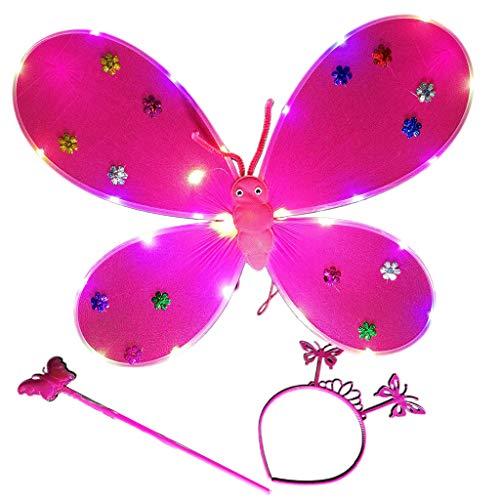 Hothap 3 stuks meisjes LED Angel Wings set feeënstaaf bandana kroonprinses carnaval kostuum 2 (eerste foto)
