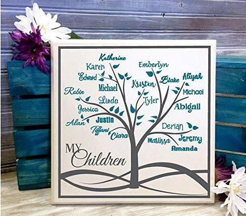 BridgetWhy50 - Cartel de Madera Personalizable con el Nombre del árbol genealógico, Regalo para Ella, Abuelos, árbol genealógico, Regalo Personalizado, Aniversario