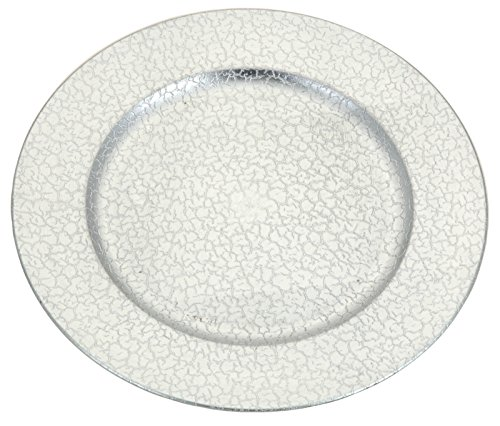 Set of 4 Charger Plates 33cm Round Or Square Gold Red Copper Silver Charger Plates (Round Silver Crackle Effect)