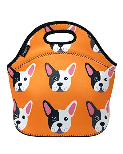 ALLYDREW Insulated Neoprene Lunch Bag Zipper Lunch Box Tote, Bull Dog
