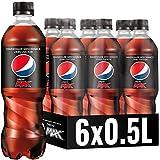 Pepsi Max, Das zuckerfreie Erfrischungsgetränk von Pepsi ohne Kalorien, Koffeinhaltige Cola in der Flasche (6 x 0,5l)