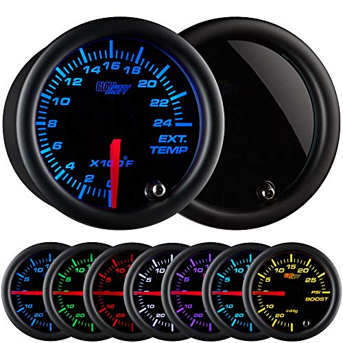 GlowShift Tinted 7 Color 2400 F Pyrometer Exhaust Gas Temperature EGT Gauge Kit - Includes Type K Probe - Black Dial - Smoked Lens - for Car & Truck - 2-1/16' 52mm