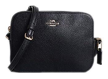 Coach Pebble Leather Mini Camera Crossbody Shoulder Bag Black