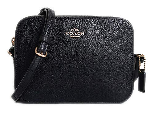 Coach Pebble Leather Mini Camera Crossbody Shoulder Bag, Black