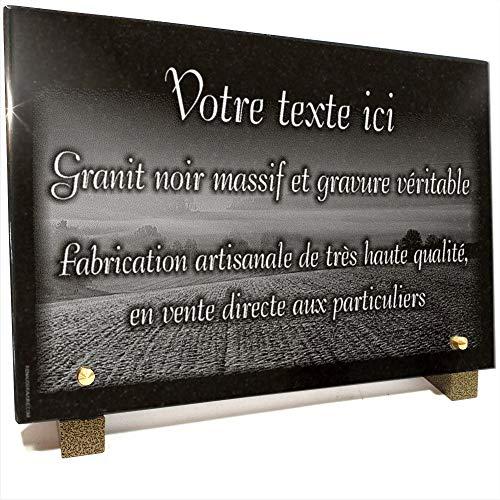 Plaque funéraire Campagne, Champs en Granit gravé Personnalisable 30 x 20 x 2 cm