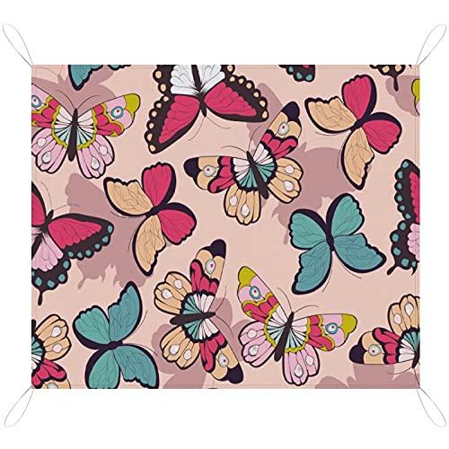 RETRUA Coloridas mantas impermeables para pícnic, 200 x 145 cm, extra grande, manta de pícnic, manta de camping al aire libre para playa, parque, camping, senderismo