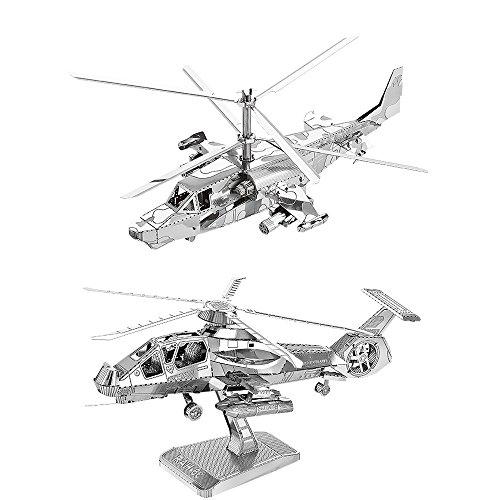 Moutu Juego de 2 piezas de rompecabezas de metal 3D KA-50 helicóptero + RAH-66 Stealth helicóptero modelo Kit D21123-28 DIY 3D corte láser montar rompecabezas juguete