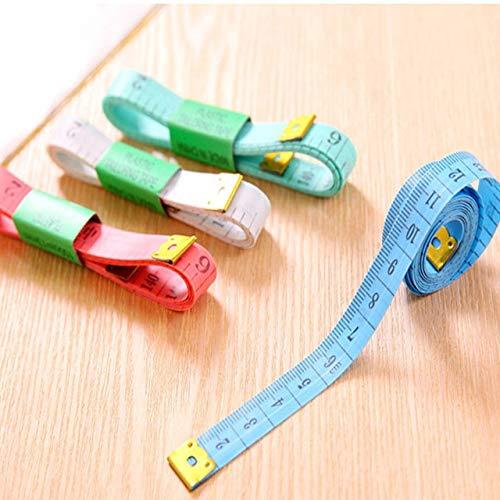 Cinta métrica Corporal de 150 cm / 60 Pulgadas Cinta métrica de Sastre para Coser Cinta métrica de Costura Plana Suave Cinta de Coser Color Aleatorio - A1,1pc con Caja