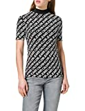 Calvin Klein Jeans AOP Slim Mock Neck tee Cuello extendido, CK Negro/CK Negro, XS para Mujer