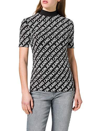 Calvin Klein Jeans AOP Slim Mock Neck tee Cuello extendido, CK Negro/CK Negro, M para Mujer