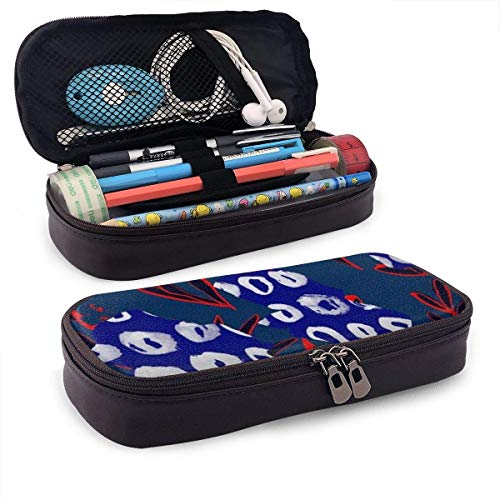 XCNGG Kosmetiktasche mit Federmäppchen Abstract Pattern PU Leather Pencil Case School Office Use Zipper Stationery Organizer