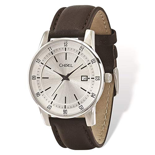 Men's Stainless Steel Silver Dial Brown Leather Watch