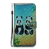 Fatcatparadise Funda para Google Pixel 3A [con Protector Pantalla], Glitter Bling 3D PU Cuero Carcasa Cartera Billetera Tapa Flip Case Antigolpes Parachoques Case Cover (Panda)