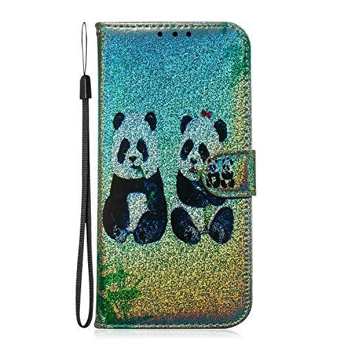 Fatcatparadise Funda para Samsung Galaxy A80 / A90 [con Protector Pantalla], Glitter Bling 3D PU Cuero Carcasa Cartera Billetera Tapa Flip Case Antigolpes Parachoques Case Cover (Panda)
