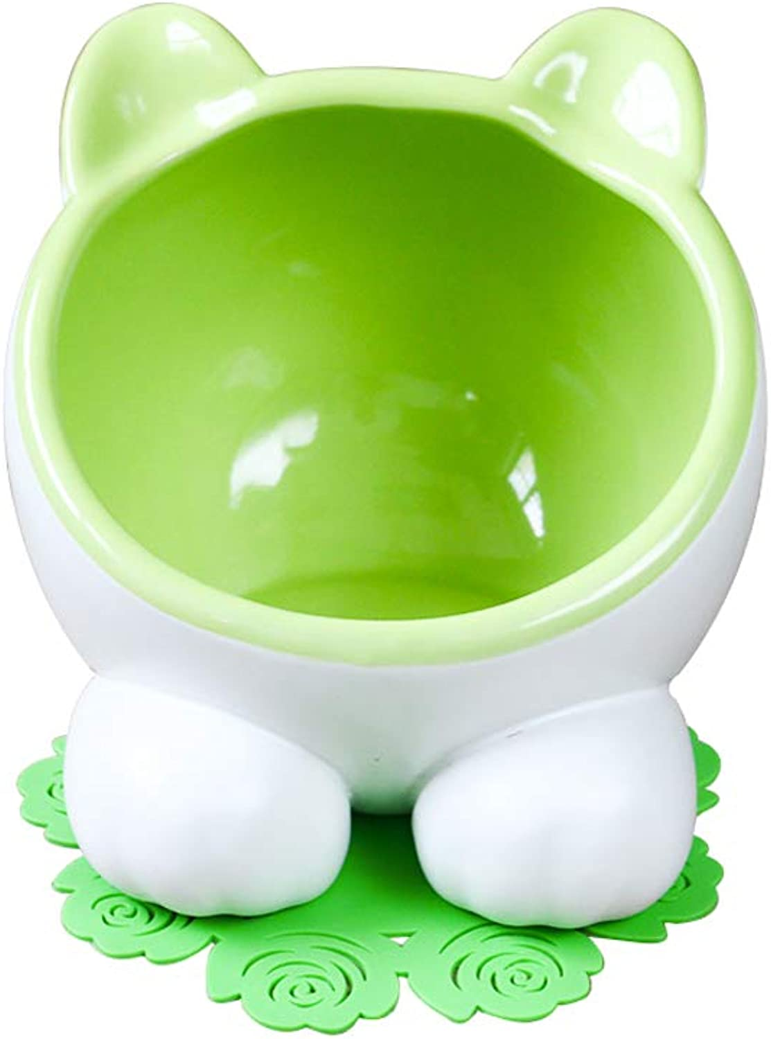 Cat Bowl,Pet Bowl,15° Tilt Platform Pet Double Bowl Feeder, Ceramic Hand Made,bluee Green (color   Green B)