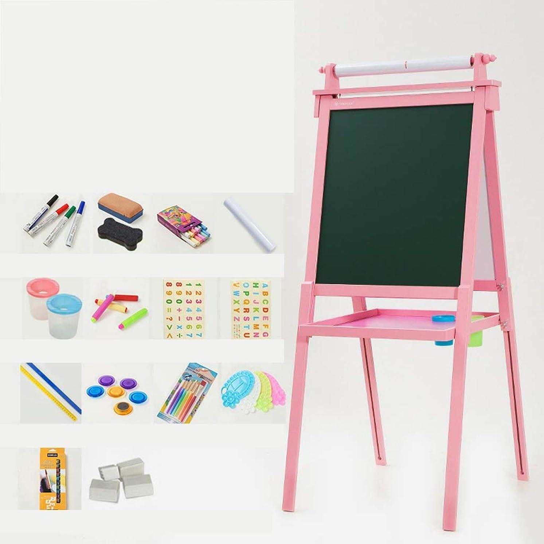 ブレース忠誠ジョージバーナードSHWSM 無垢材の子供用リフト式イーゼル、両面利用可能、磁気ライティングボード、子供用家庭用 イーゼル (色 : ピンク)