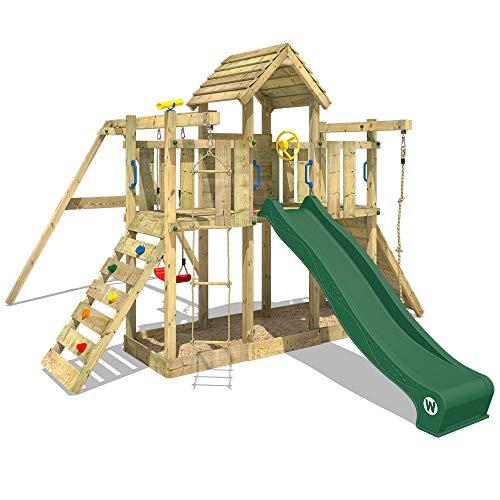 WICKEY Spielturm Klettergerüst Smart Twister mit Schaukel & grüner Rutsche, Spielhaus mit Sandkasten, Kletterleiter & viel Spiel-Zubehör