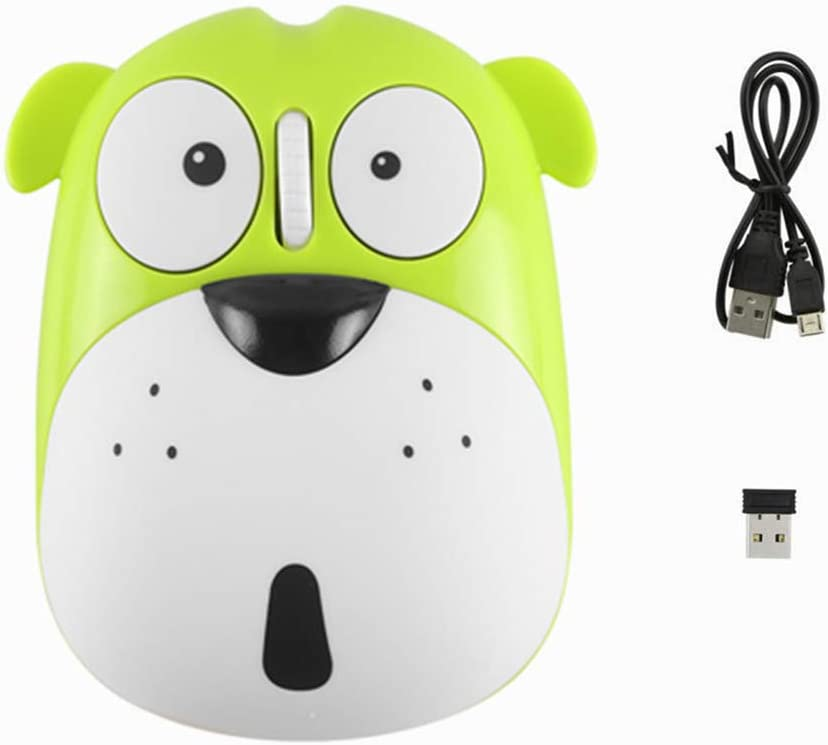 3C Light Wireless Mouse Cute Animal Dog 2.4GHz Wireless Mouse Mini Rechargeable Optical Mice Cartoon Computer Mouse 3 Buttons for Laptop Desktop PC Computer (Green)