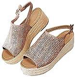 Minetom Mujer Sandalias Verano Plataforma Cómodos Elegante Moda Chic Playa Romano Zapatos De Boca De Pescado Marrón 37 EU