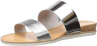Dolce Vita Women's VALA Slide Sandal, Silver Leather, 6.5 M US