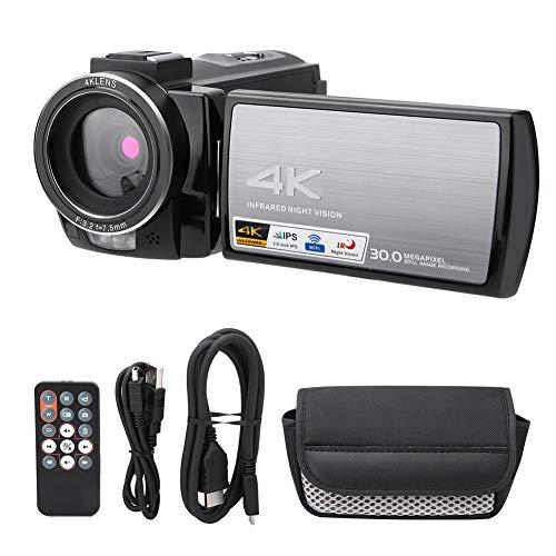 Ruining Videocamera, videocamera 4K 3.0 Pollici Videocamera Riconoscimento facciale con Rotazione di 270 Gradi per Turismo all'aperto per riprese di microfilm(Standard, Transparency)