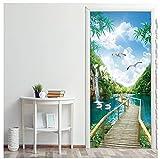 Green Natural Scenery Sticker 3D Door Waterproof Alpine River Bridge Animals Sticker Doors Wallpaper Living Room Shop Home Decor