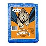 B-Air Grizzly Tarps - Large Multi-Purpose, Waterproof, Heavy Duty Poly Tarp Cover - 5 Mil Thick (Blue - 16 x 20 Feet)