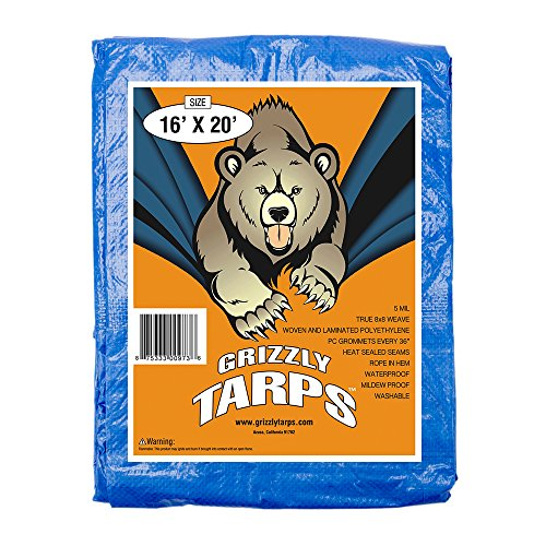 B-Air Grizzly Tarps - Large Multi-Purpose, Waterproof, Tarp Poly Cover - 5 Mil Thick (Blue - 16 x 20 Feet)