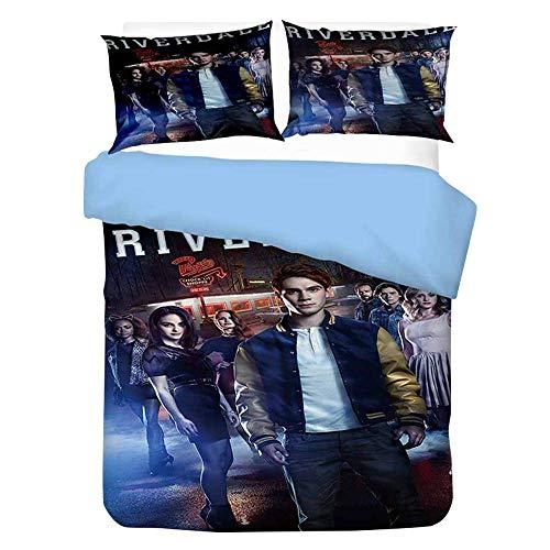 Iverdale Bed Linen Jughead, Southside Serpents 135 X 200 Cm Bed Linen Set with Zip for Teenagers Girls Children 3D Galaxy Winter Pop's Duvet Cover with Pillow Caser,6,150x200cm
