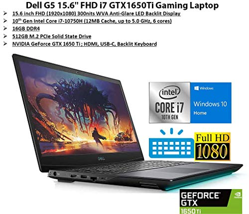 "Newest Dell G5 15.6"" FHD Gaming Laptop, i7-10750H, Backlit Keyboard, Bluetooth, USB-C, HDMI, Mini DP, NVIDIA GeForce GTX 1650 Ti, Windows 10 Home, Black (16GB RAM | 512GB PCIe SSD)"