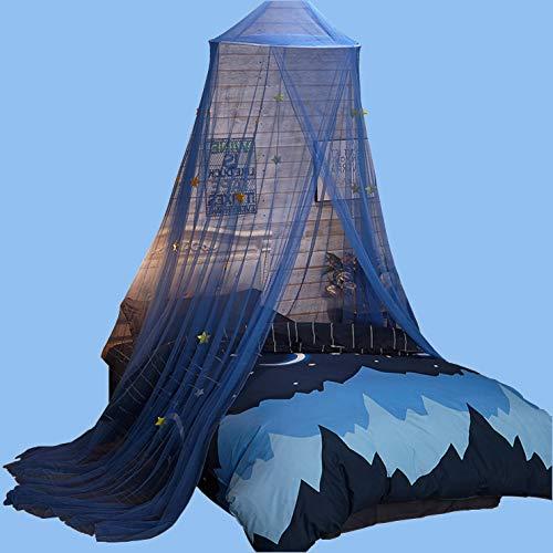Round Dome Betthimmel mit Blue Stars Kinder Moskitonetz mit Geeignet für Jungen, Mädchen, Kid Einzelbett, Studentenwohnheim
