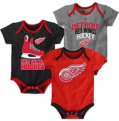 Outerstuff NHL Newborn Infants Hat Trick 3 Piece Creeper Bodysuit Set (24 Months, Detroit Red Wings)