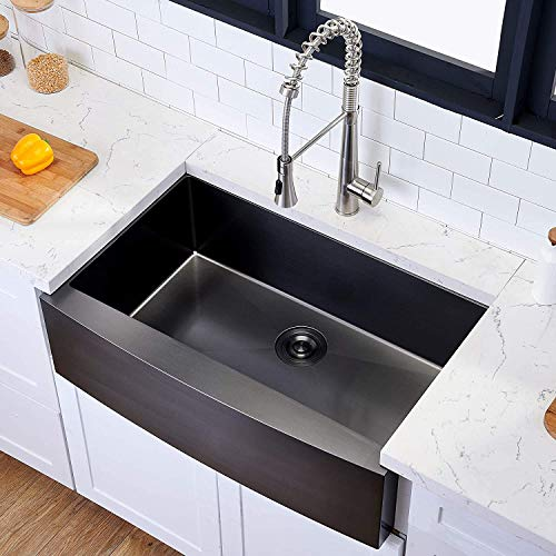 Hotis Modern Single Bowl 33 Inch Apron Front Black Stainless Steel Farmhouse Kitchen Sink,Undermount Sink The Sink with Accessories